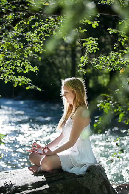 Yoga along the river with a high school senior in Summit County, Colorado